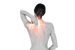 Highlighted back pain of woman Royalty Free Stock Photography