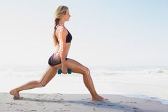Highlighted bones of exercising woman Royalty Free Stock Images