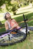 Highlighted bones of injured cyclist Stock Photo