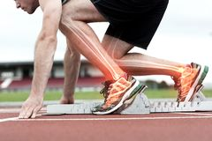 Highlighted bones of man about to race Royalty Free Stock Images