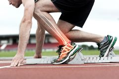 Highlighted bones of man about to race Royalty Free Stock Image
