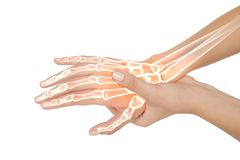 Highlighted bones of woman with hand pain Royalty Free Stock Image