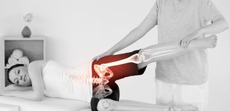 Highlighted bones of woman at physiotherapist Stock Photography