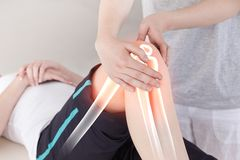 Highlighted bones of woman at physiotherapist Royalty Free Stock Image