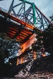 Highlighted bridge construction royalty free stock image