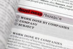 Highlighted business definition Stock Photos