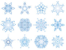 Highlighted crystal snowflakes Royalty Free Stock Photos