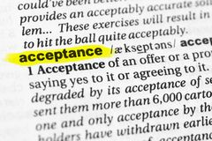 Highlighted English word `acceptance` and its definition in the dictionary.  Royalty Free Stock Photo