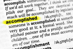 Highlighted English word accomplished and its definition in the dictionary.  stock photo