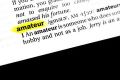 Highlighted English word amateur and its definition in the dictionary.  royalty free stock image