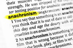 Highlighted English word `anachronism` and its definition in the dictionary.  Royalty Free Stock Photos