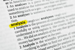 Highlighted English word & x22;analysis& x22; and its definition at the dictionary Royalty Free Stock Photography