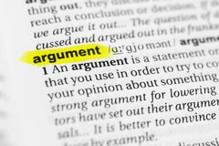 Highlighted English word `argument` and its definition in the dictionary.  Royalty Free Stock Photos