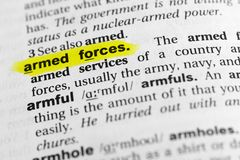 Highlighted English word `armed forces` and its definition in the dictionary.  Stock Photography