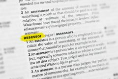 Highlighted English word assessor and its definition at the dictionary