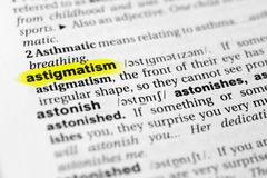 Highlighted English word `astigmatism` and its definition in the dictionary.  royalty free stock photography