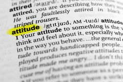 Highlighted English word `attitude` and its definition in the dictionary.  stock photography