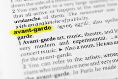 Highlighted English word `avant garde` and its definition in the dictionary.  royalty free stock images
