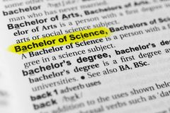 A Macro Of A Bachelor Of Science Degree Stock Image