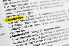 Highlighted English word commerce and its definition at the dictionary. royalty free stock image