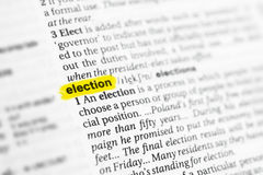 Highlighted English word & x22;election& x22; and its definition at the dictionary Royalty Free Stock Images