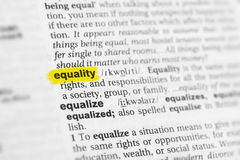 Highlighted English word & x22;equality& x22; and its definition at the dictionary Royalty Free Stock Photo