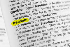 Highlighted English word & x22;freedom& x22; and its definition at the dictionary.  Stock Photo