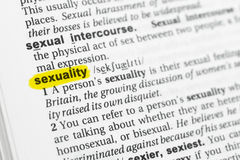 Highlighted English word & x22;sexuality& x22; and its definition at the dictionary Stock Photography