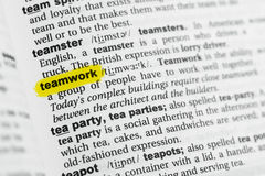 Highlighted English word `teamwork` and its definition at the dictionary Royalty Free Stock Photography