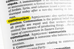 Highlighted English word & x22;communism& x22; and its definition at the dictionary