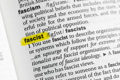 Highlighted English word & x22;fascist& x22; and its definition at the dictionary Royalty Free Stock Photos