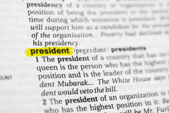 Highlighted English word & x22;president& x22; and its definition at the dictionary Royalty Free Stock Image