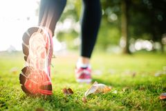 Highlighted foot bones of jogging woman. Digital composite of Highlighted foot bones of jogging woman stock image