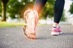 Highlighted foot bones of jogging woman Royalty Free Stock Image