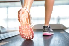 Highlighted foot of woman on treadmill Stock Image