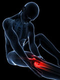 Highlighted knee joint. 3d rendered illustration of pain in the knee Royalty Free Stock Images