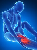 Highlighted knee joint. 3d rendered illustration of pain in the knee Stock Photos