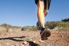 Highlighted leg bones of jogging man. Digital composite of Highlighted leg bones of jogging man stock photography