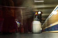 Highlighted Luggage Suitcase Pack Silver Travel Train Station Ar. Rival Departure Boarding Crowd Long Exposure Movement Underground Subway Stock Photography