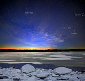 Winter Stars and Planets. Highlighted notable winter stars and planets over frozen Seneca Lake, Ohio on February 13, 2018 at 6:20 am Royalty Free Stock Images