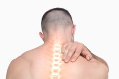 Highlighted shoulder pain of man Royalty Free Stock Images
