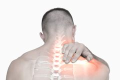 Highlighted shoulder pain of man Stock Images