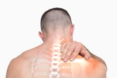 Highlighted shoulder pain of man Royalty Free Stock Photo