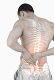 Highlighted spine of man with back pain Royalty Free Stock Photography