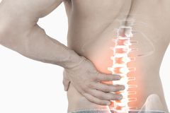 Highlighted spine pain of man Royalty Free Stock Photography