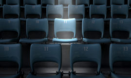 Highlighted Stadium Seat Stock Photo