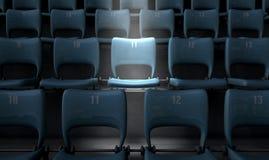 Highlighted Stadium Seat Stock Photo