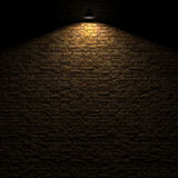 The highlighted stone wall by edison lamp 3d rendering Royalty Free Stock Photos