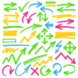 Highlighter Arrows and Marking Design Elements. Set of hand drawn colorful highlighter arrows, pointers, arrowheads and marks. Can be used for text highlighting Stock Photo