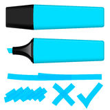 Highlighter blue with markings Royalty Free Stock Images